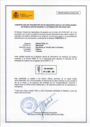 Certificado NIMF-15